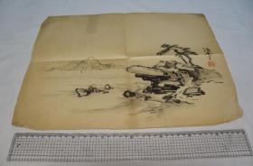 旧画  山水画2枚     手绘