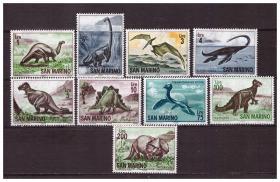 『圣马力诺邮票』1965年 恐龙 史前动物古生物 9全新