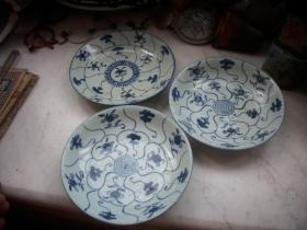 清代-花卉纹【青花盘子】3个合售!品如图,都有冲线.直径15厘米