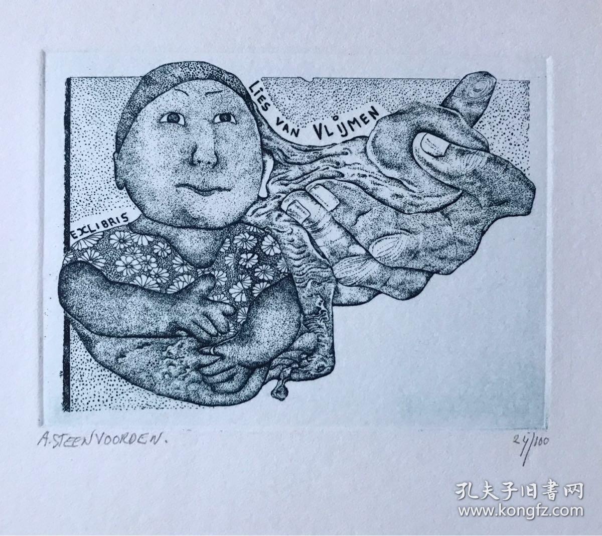 票幅14.7*13.1cm. 画幅11.3*8.7cm Ab Steenvoorden (1934-2010)荷兰版画家、藏书票家和雕塑家。 票主Lies van Vlijmen(1933)荷兰女版画家、陶艺家,作品富有幽默动感的快乐气息,以儿童生活题材为主创作过不少藏书票。