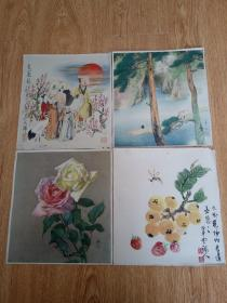 民国日本印刷《小室翠云》《和田英作》《小村曼舟》《菅楯彦》四位画家的作品各一张