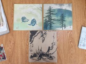 【色纸】民国日本印刷名家画作《雪林小鹿》《树下农妇》等三幅