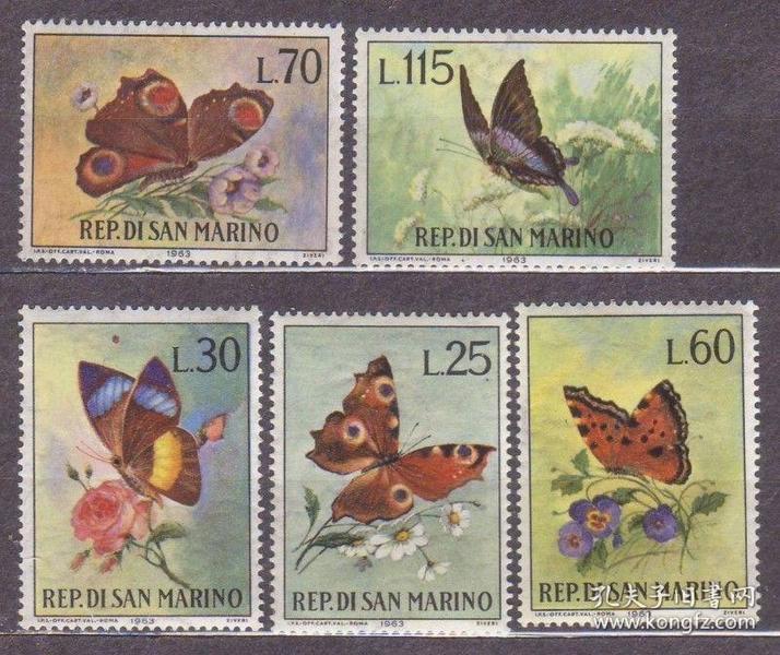 『圣马力诺邮票』1963年 蝴蝶 5全新
