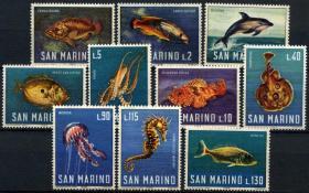 『圣马力诺邮票』 1966年 海洋生物 10全新