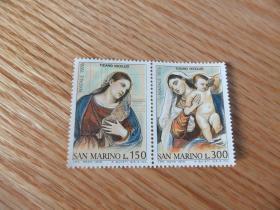 『圣马力诺邮票』1976年 圣诞节 提香油画 圣母圣母子 雕刻版2全新
