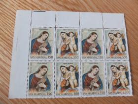 『圣马力诺邮票』1976年 圣诞节 提香油画 圣母圣母子 雕刻版 4连 4x2全新