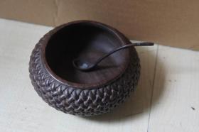 清末民国:仿竹编木水盂【带铜勺】