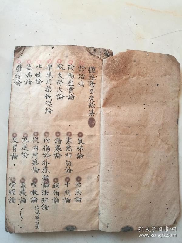 中医手稿本,体注景岳庆余集,未有刻印本传世,每页都是书法精品。