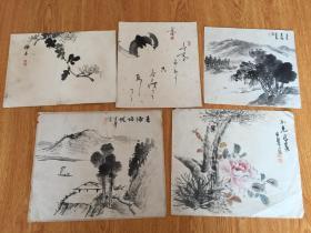 清代到民国日本精装手绘小画5幅合售