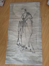 """清代日本云谷派画家【云谷等澄】《佛画》一幅,云谷派创始人是日本""""画圣""""之称的【雪舟等杨】,该画作者自称【雪舟八世】"""