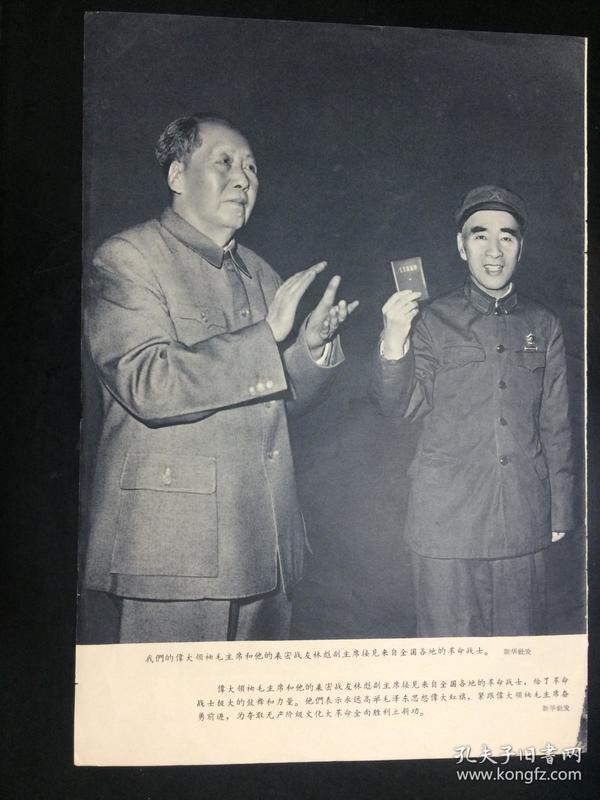 文革,宣传画,我们伟大领袖毛主席和他的亲密战友林彪副主席接见来自全国各地的革命战士 , 16开