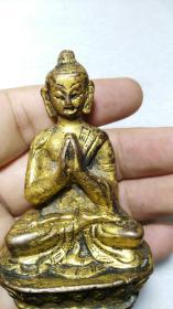 收钱币收的 阿弥陀佛 鎏金小精品铜佛像