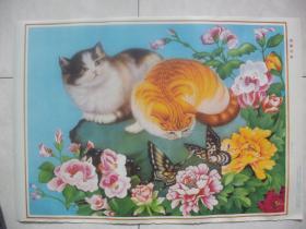 年画:猫蝶同春