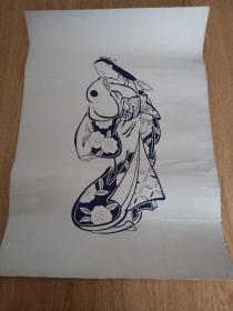 民国日本印刷《古代仕女图》大幅53.8*37.8厘米