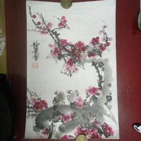 """国画:著名画家,沈阳牡丹王""""张韶华""""精品花鸟画,梅花小鸟"""