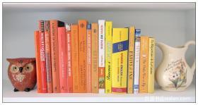 活力橙黄色风格软装外文真书 样板房陈列装饰摆件 拍摄道具