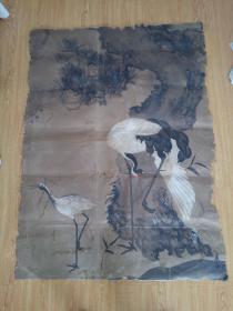 很老的一幅日本画《松鹤图》,落款【春山】,很大一幅127*93厘米