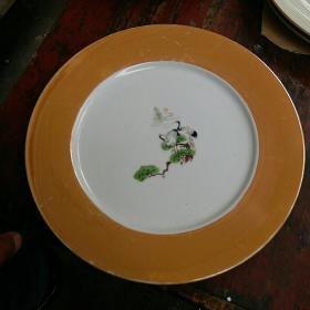 盘 老瓷茶壶盘,松鹤图,80年代怀旧老物件,成套茶壶托盘配件