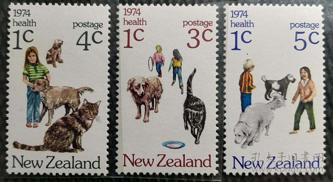 新西兰1974年  附捐邮票、儿童宠物-狗和猫  3全新