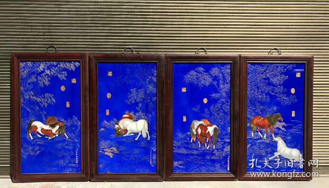 《郎世宁》作品红木镶瓷板画珐琅掐丝八俊图高90宽53