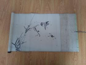 日本画《竹鸟图》