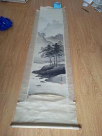 日本画《山水树林图》,绢本,落款【广峰】