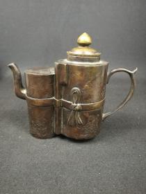 清代双联铜酒壶