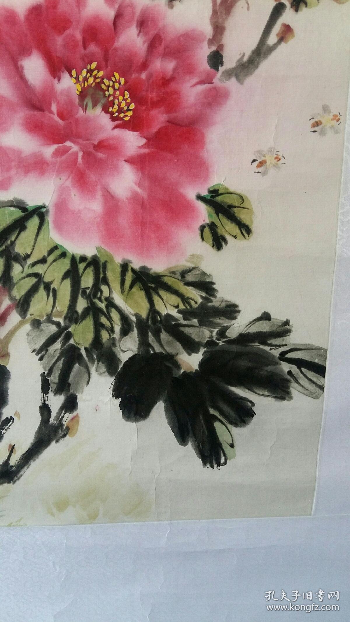 安徽艺校老教授,著名老画家(梁景福)68×45……牡丹图片