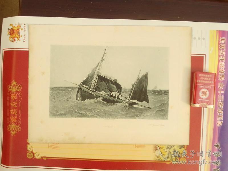 一八八几年单张单面铜版画--帆船