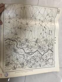 东北民主联军缴获日本军用地图  五万分之一  辽中县 地图!