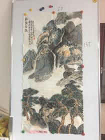 山东画家许聿礼山水画一幅67*135CM:松壑云泉