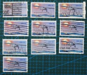 美国邮票----林的伯格飞行50年(信销票)