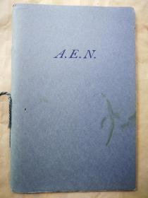 """1954年 """"藏书之爱""""纽顿之子斯威夫特向费城自由图书馆捐赠纽顿藏书献辞《A.E.N.》 仿纽顿自印蓝色小册子 小32开"""