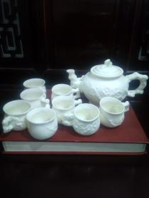 八九十年代德化瓷纯手工梅花精品茶壶茶杯一套 (1个壶八个杯子)十分精美养眼 包快递无瑕疵