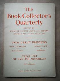 1934年 夏季号《聚书人季刊》介绍两大印刷大师  纸面平装32开100页