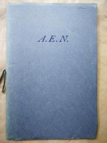 """1954年 """"藏书之爱""""纽顿之子斯威夫特向费城自由图书馆捐赠纽顿藏书献辞《A.E.N.》 仿纽顿自印蓝色小册子 小32开 另一本"""