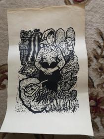 丝网刷印老版画一张