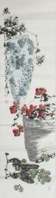 【保真】.【白羽】广东省美术家协会会员、石涛画会理事、手绘条屏写意花鸟作品(115*32CM)4
