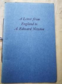 """1940年  """"藏书之爱""""纽顿橡丘庄自印本《英伦飞鸿》自印蓝色小册子 小32开 12页 纽顿收到英国朋友来信时已在弥留之际"""