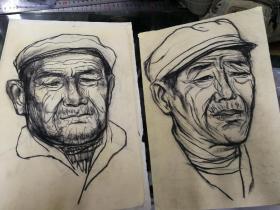 当代画家高原70-80年代人像画稿7幅