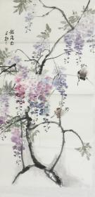 【保真】。【郭龙飞】河南省美术家协会会员、手绘三尺花鸟作品(100*50CM)1。