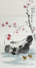 【保真】。【郭龙飞】河南省美术家协会会员、手绘三尺花鸟作品(100*50CM)4