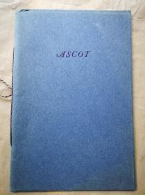 """1933年 圣诞节 """"藏书之爱""""纽顿为朋友们印制《ASCOT》 纽顿签赠本 自印蓝色小册子 小32开 无页码"""