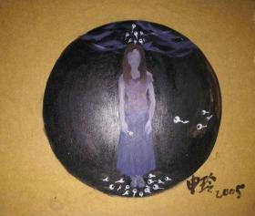 著名画家厚纸板圆形油画《源》