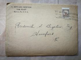 """1937年  """"藏书之爱""""纽顿自印本《GOUGH SQUARE》 纽顿签名本 自印蓝色小册子 小32开 20页 带实寄封"""