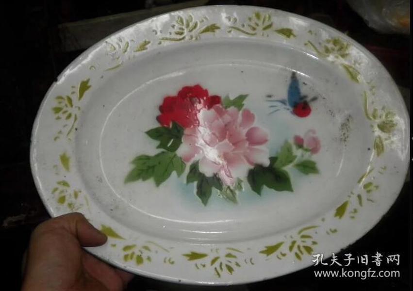 82年搪瓷花卉盘