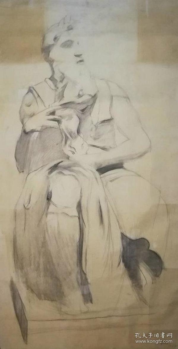 画家巨幅人物素描《雕塑》