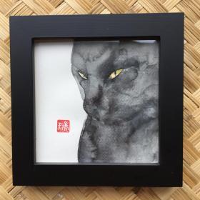 水彩画《猫山》
