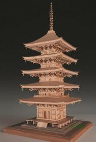 日本三大名塔之 琉璃光寺五重塔 1:75古建筑木模型 和样 北宋样式