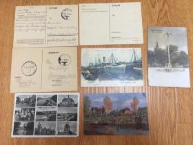 二战德国实寄明信片7张,年代是1940-1942年